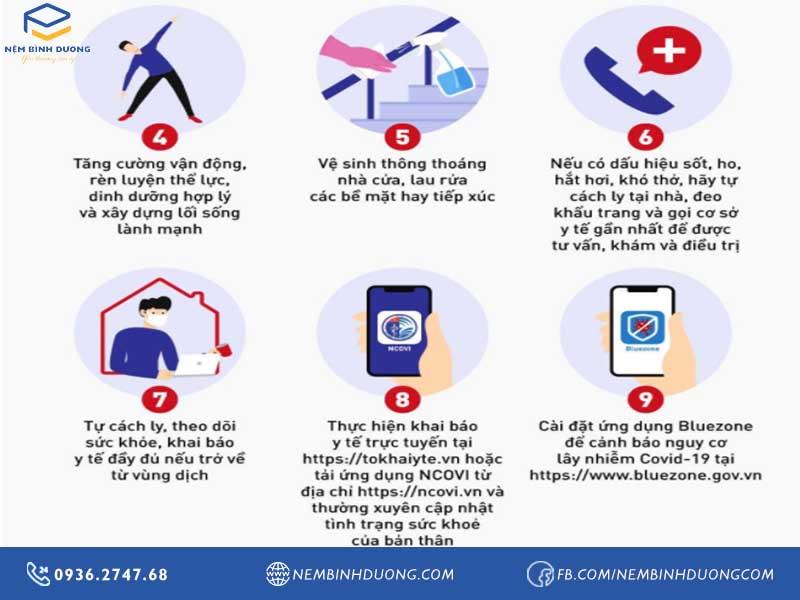 9 biện pháp mới nhất phòng chống dịch COVID-19 - Nệm Bình Dương
